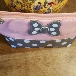 None Bags - Minnie Mouse Bow Cosmetic Bag Pink and Grey